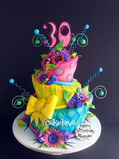 brightly colored wonky birthday cake