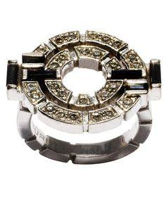 Canturi black sapphire and diamond art deco ring.  Love.