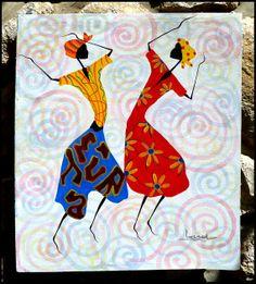 Colorful Haitian Women Dancers  Hand Painted by TropicAccents, $39.95   Haitian Art  #Haiti