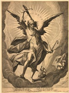 Quis ut Deus (Who can judge as God does) - archangel St Michael, whole-length, with sword (to battle the devil) aloft and holding scales (represent Justice & weighing of the souls to see if one can go to heaven), in a ring of clouds, 1602 Engraving