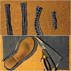 thee Kiss of Life Upcycling: Upcycled Denim Sandals Redo Clothes, Sewing Baby Clothes, Denim Sandals, Denim Shoes, Denim Rug, How To Make Slippers, How To Make Shoes, Creative Shoes, Denim Crafts