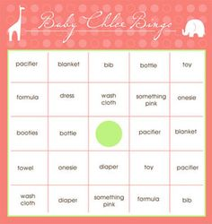 Print These Free Baby Shower Bingo Cards on Your Home Computer: Free Baby Shower Bingo Cards by Artisan Cake Company