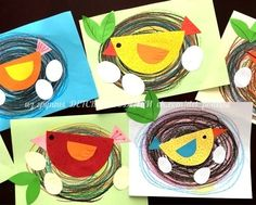 Ideas Bird Nest Art Project Crafts For Kids Spring Art Projects, Toddler Art Projects, Spring Crafts, Toddler Crafts, Projects For Kids, Children Crafts, Easter Art, Easter Crafts For Kids, Craft Kids