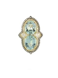 London Collection 18k Aquamarine and Diamond Ring - ivy new york diamond ring w/semi-prec 18tt 2aqua=6.04 2mqd=.21 122d=.52 ring