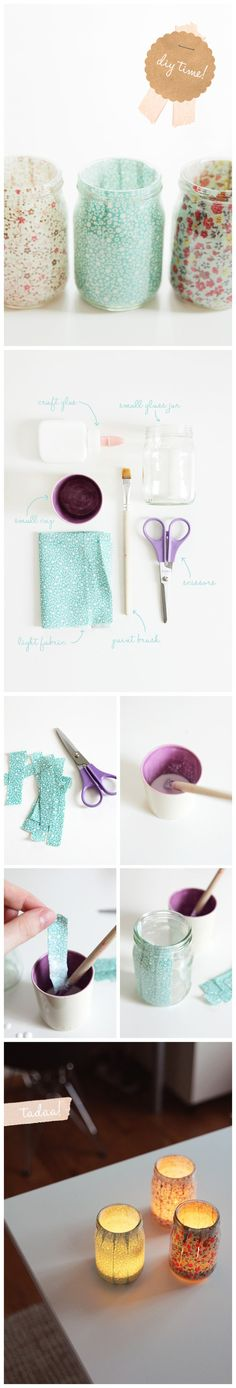 lining jars with fabric. use for candles or pencil holders