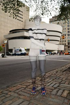 trina merry body paints people to blend with NYC architecture