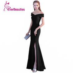 486d523d5b Mermaid Suknie Wieczorowe 2017 Czarna Sukienka Wieczorowa Sexy Side Podział  Długie Suknie Wieczorowe V Neck Robe De Soiree Avondjurk