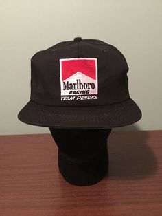 68a54808251 Vintage Marlboro Racing Team Penske Black Snapback Hat Cap New
