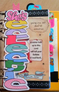 My gorgeous personalised divider from My Pretty Filo! (The link to her shop is in the blog post.) She's Eclectic
