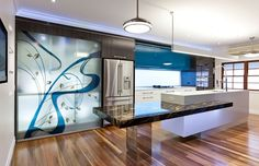 Contemporary Kitchen Cabinet design with Amazing Painting Color - The Modern Kitchen Design, beautiful tigerwood floors Decoration Design, Deco Design, Design Case, Glass Design, Wall Design, Best Kitchen Designs, Modern Kitchen Design, Kitchen Ideas, Kitchen Colors