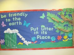 Earth Day Bulletin Board College Bulletin Boards, Preschool Bulletin Boards, Earth Day Information, Girl Scout Silver Award, Eco Kids, Earth Day Crafts, Green School, Board Decoration, Summer Camps For Kids