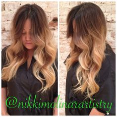 Khloe Kardashian inspired dimensional blonde ombre by Nikki Molinar at Style Lounge in San Diego