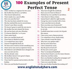 100 Sentences of Present Perfect Tense para traducirlas al Español Tenses English, English Sentences, English Vocabulary Words, English Writing, English Study, English Words, English Grammar, Writing Sentences Worksheets, English Movies