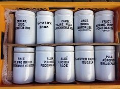 40x china jars (17cm) with inscription New Arrivals Davidowski European Antique Pine Furniture wholesale Holland