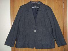 Dialogue  Black White Dotted Size 2X Blazer Jacket  #Dialogue #Blazer
