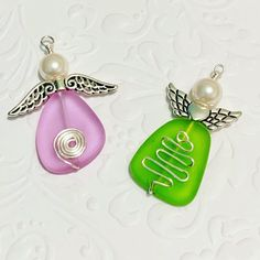 Angel pendants created using cultured glass Ladybug Jewelry, Angel Pendant, Pearl Earrings, Pendants, Pearls, Create, Glass, Pearl Studs, Drinkware
