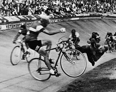If I'm not mistaken, this is a photograph of the famous incident whereby a photographer was killed near the finish line of Paris Roubaix, back in the day.