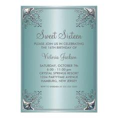 Teal Blue Sweet Sixteen Birthday Party Custom Invite Wedding Invitations