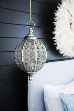 This bedroom is a blissful retreat, thanks to exotic touches such as the glimmering silver 'Filigree' hanging lantern. Wall Lights, Ceiling Lights, Hanging Lanterns, Style Challenge, Silver Filigree, Bed & Bath, Home Accessories, Exotic, Challenges