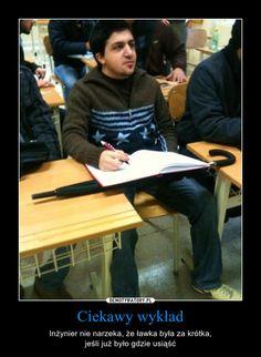 Ciekawy wykład – Inżynier nie narzeka, że ławka była za krótka,jeśli już było gdzie usiąść