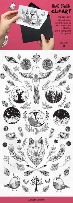 Forest Tribe Vector Bundle by SoNice Design crtv.mk/zBpS  It includes beautiful clip art of birds, fox, wolf, natural flowers, branches, leaves, feathers, wreathes, frames, logos. You may used it for various purposes such as logos, wedding invitation, t-shirt, label, badges, greetings, packaging, stationery, posters, websites, digital presentations and whatever you can imagine :)