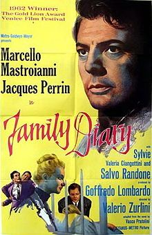 Family Diary (Italian: Cronaca familiare) is a 1962 Italian film directed by Valerio Zurlini and based on the novel by Vasco Pratolini. It tells the story of two brothers (played by Marcello Mastroianni and Jacques Perrin) who are brought up apart from each other at their mother's death, then brought together by difficult family circumstances.
