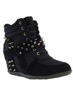 Amazon.com: Dana 10 Womens Studded Spike Lace Up Wedge Sneakers Black: Shoes