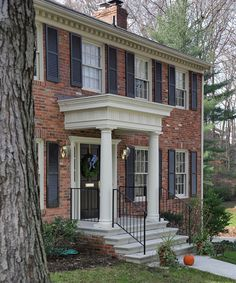 Colonial Door Trim Front Porches 37 New Ideas Colonial House Exteriors, Dentil Moulding, House, Porch Steps, House Front, House Roof, House Exterior, Porch Remodel, Front Porch Design