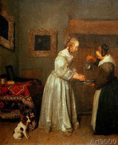 Gerard ter Borch or Terborch - Lady washing her hands
