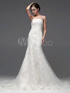 Robe de mariée fabuleuse sirène ivoire en tulle avec dentelle bustier - Milanoo.com