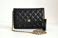 Chanel Black Lambskin Leather WOC Clutch Bag Wallet on Chain $275