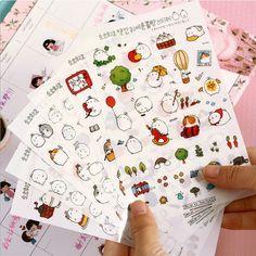 新しいかわいい素敵なウサギ6シート紙日記スクラップブックブック装飾diyパーソナライズされたフォトアルバム漫画ステッカー