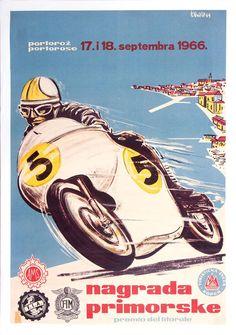 Nagrada Primorske original poster for 1966 Yugoslavian motorcycle race