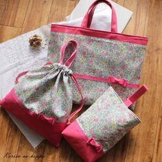 リバティを使用した可愛い女の子向けの大人可愛い手作りバッグです。