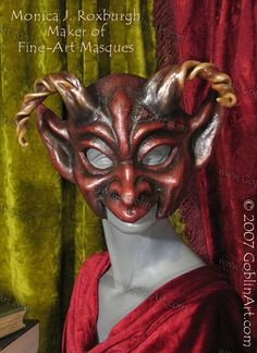 """Red Devil Goblin"" mask with horns by Monica J. Roxburgh of GoblinArt.com (© 2007)"