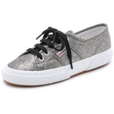 Superga Cotu Glitter Sneakers (81 AUD) ❤ liked on Polyvore featuring shoes, sneakers, grey, grey sneakers, superga shoes, crepe sole shoes, grey shoes and laced up shoes