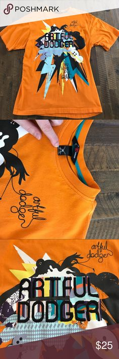 Artful Dodger Reap What You Sew embroidered shirt. Embroidered Artful Dodger t-shirt. In great condition; men's size M. Bright orange and multi-colored design. Artful Dodger Shirts Tees - Short Sleeve