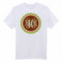 Personalized Hot Pink Lime And Brown Circle Monogram Graphic Tee