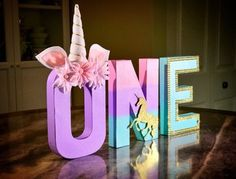 """Unicorn Letters, Unicorn Party, Photo Prop, Centerpiece, 8"""" Freestanding Letter, Custom Block Letter, 1st Birthday, Pastel, Baby Shower by CraftsByBiessel on Etsy https://www.etsy.com/listing/522149750/unicorn-letters-unicorn-party-photo-prop"""