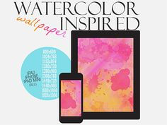 Dribbble - Free Watercolor Inspired Wallpaper [all sizes] by angee maree      colorful, texture, watercolor, background, desktop, free, freebie, ipad, iphone, wallpaper