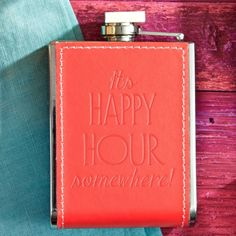 Red Embossed Happy Hour Hip Flask