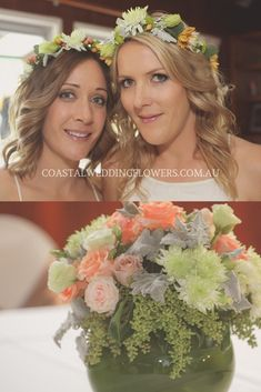 Soft colour palette with a pop of apricot to add dimension Coastal Wedding Flowers, Flower Crown Wedding, Flower Crowns, Flower Crown Hairstyle, Garden Weddings, Hair Flowers, Destination Weddings, Gold Coast, Chic Wedding