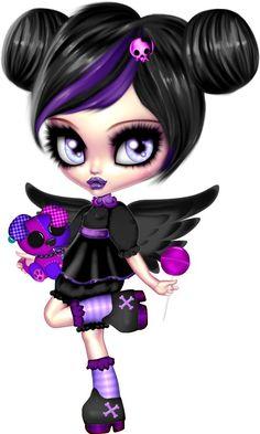 Anime Chibi, Manga Anime, Gothic Fantasy Art, Gothic Fairy, Voodoo Doll Tattoo, Goth Art, Emo Art, Sugar Skull Art, Gothic Dolls