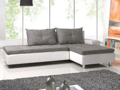 Canapé d'angle réversible et convertible KOUVOLA - Gris et blanc