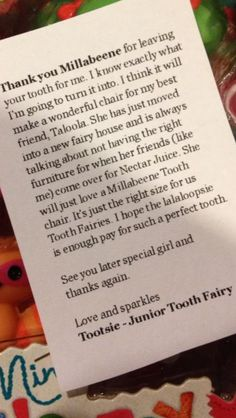 Tooth fairy letter idea- change it to fit your child