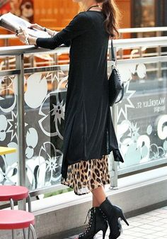 Collar Maxi Black Cardigan. For chilly days  and this is one of the only reasons i would wishto be tall