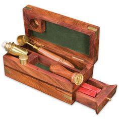 Antique-Style Wax Seal Kit in Wooden Box | True Swords