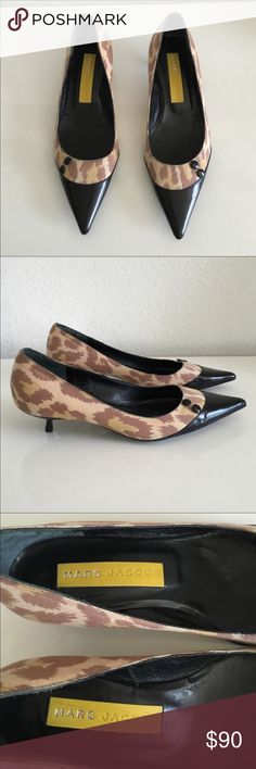 NWT Marc by Marc Jacobs  Kitten Heels So chic.  Fabric uppers with contrast leather toes.  New condition.  Fabulous. Marc by Marc Jacobs Shoes Heels