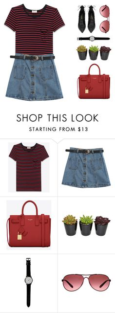 """Red YSL"" by starit ❤ liked on Polyvore featuring Yves Saint Laurent, Chicnova Fashion, thumbsUp! and Oakley"