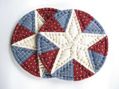 Set of Two Quilted Mug Mats - Quilted Coasters - Fabric Coasters Americana Candle Mats Patriotic Table Decor Rustic Country Farmhouse Decor